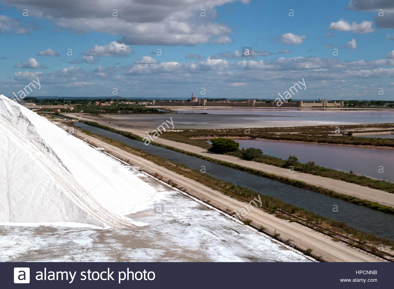 salt factory near Aigues-Mortes in Camargue,France - Stock Image