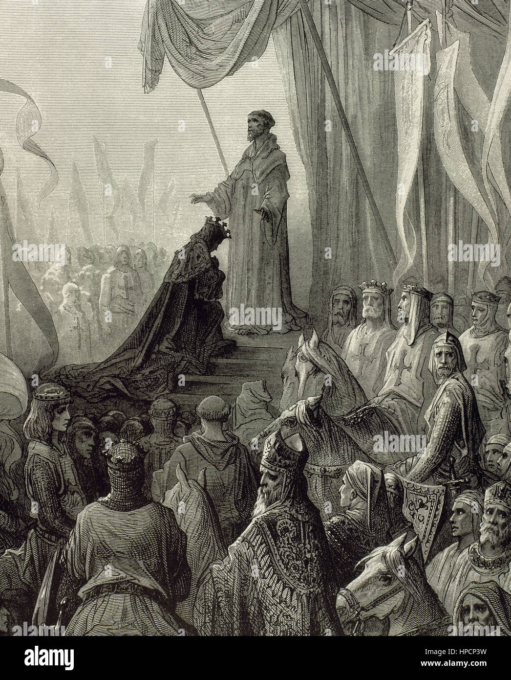 First Crusade (1096-1099). Crusaders receiving the blessing after the conquest of the citadel of Mosul, June 28, - Stock Image