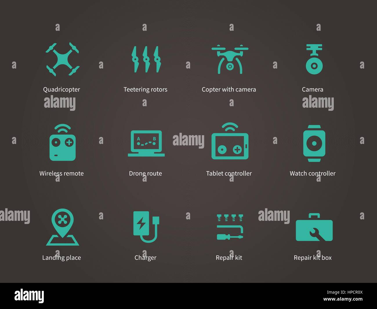 Delivery air drone icons set. - Stock Vector