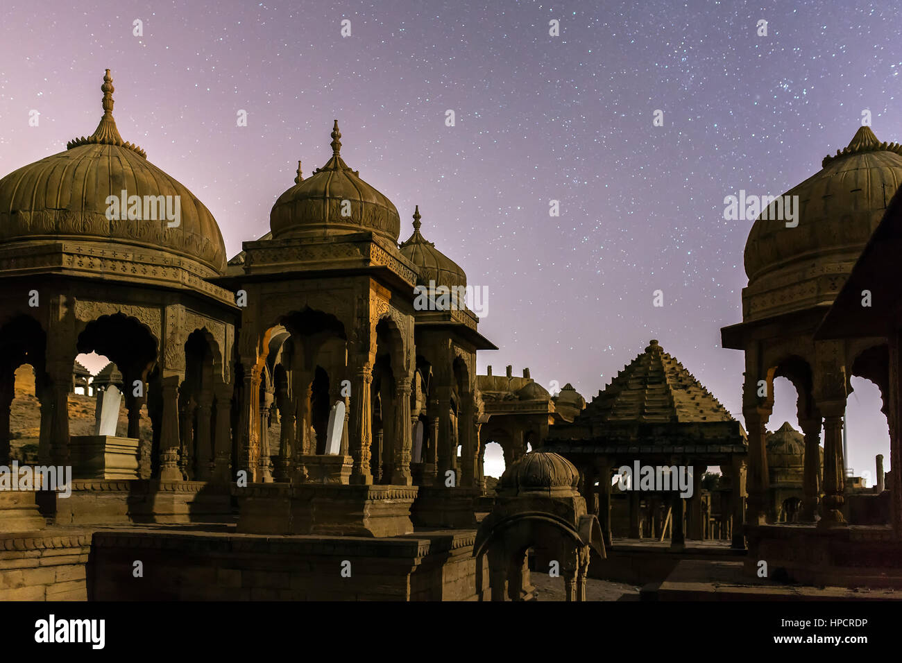 The royal cenotaphs of historic rulers, also known as Jaisalmer Chhatris, at Bada Bagh in Jaisalmer, Rajasthan, - Stock Image