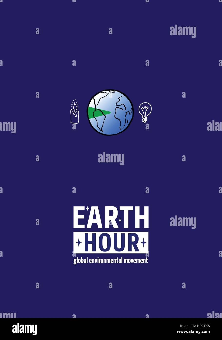 Earth Hour Movement. Vector illustration, template for banner or card - Stock Vector