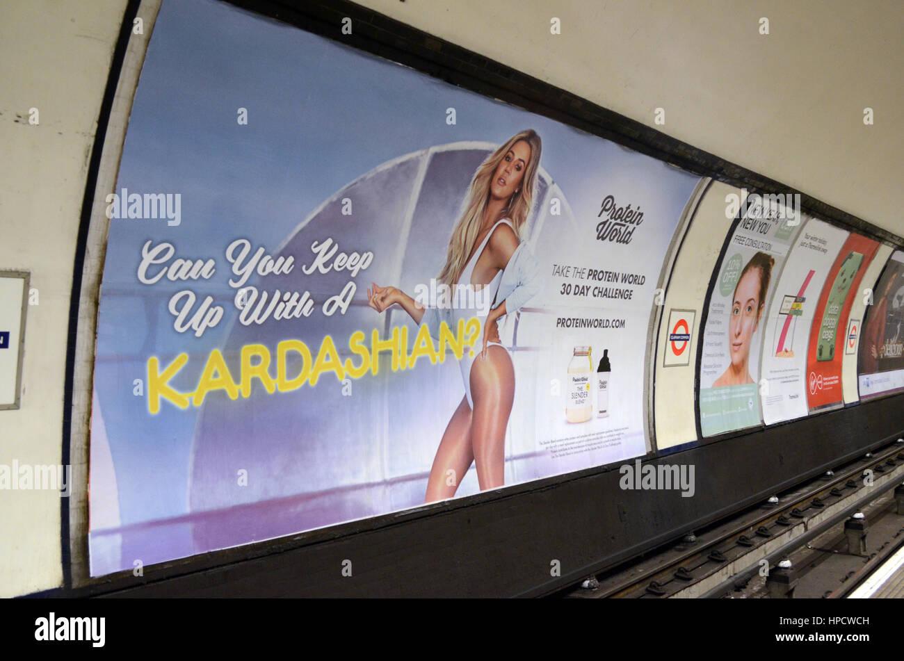 London, UK, 20/02/2017 London Mayor Sadiq Kahn wants to remove ' Keep up with Kardashian poster on London underground.' - Stock Image
