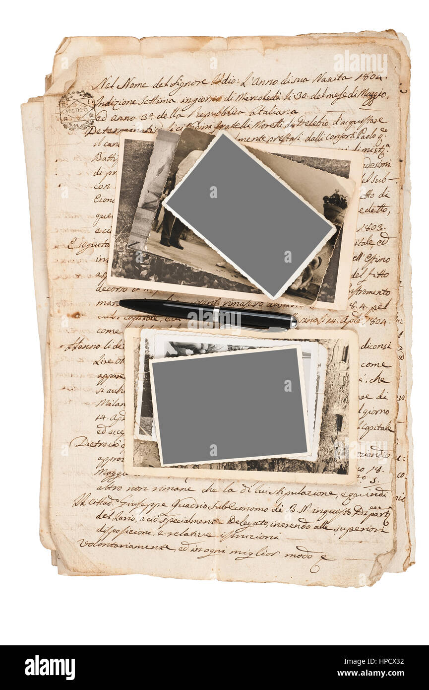 Old pictures on letter background - Stock Image