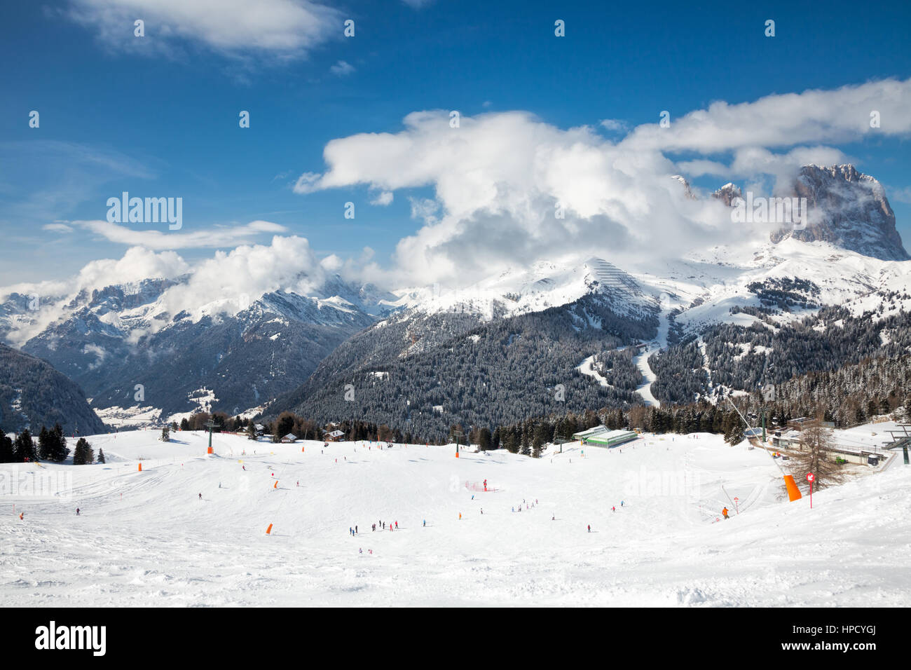 View of a ski resort area in Italy - Stock Image