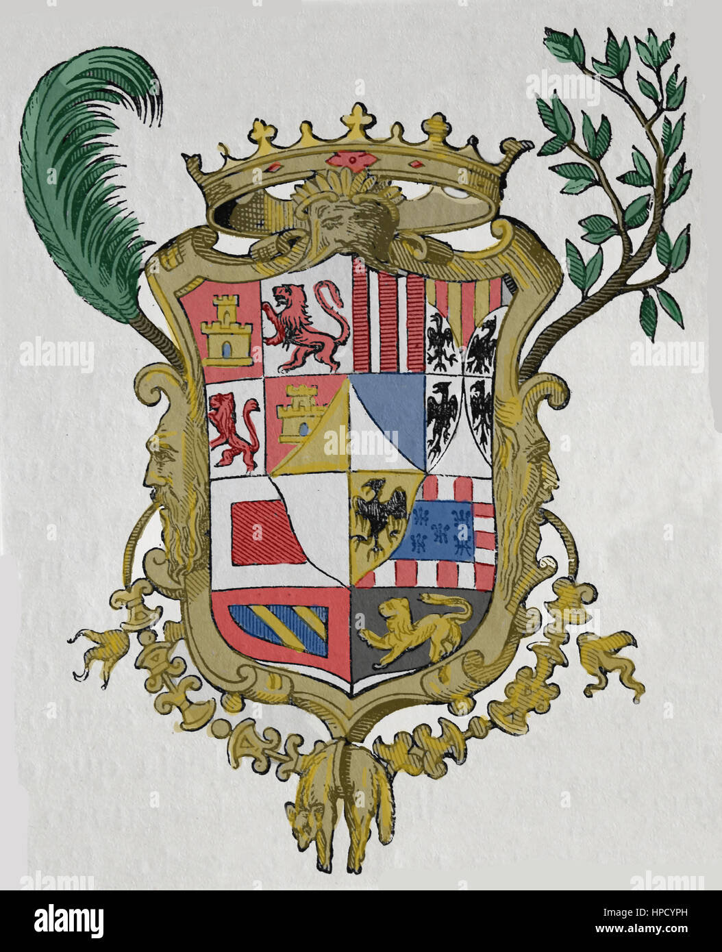 Coat of arms of Don John of Austria (1547-1578). Engraving, 19th century. - Stock Image