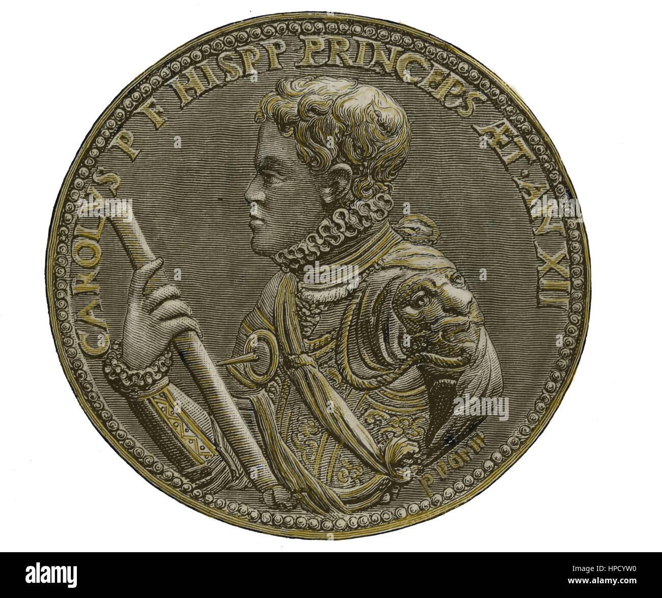 Carlos, Prince of Austrias (1545-1568). Son of Philip II of Spain. Medallion. Portrait. Engraving. Color. - Stock Image