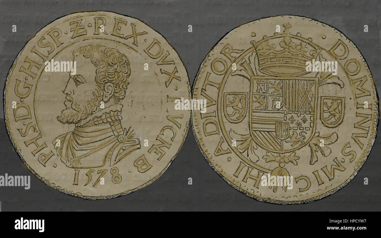 Coin Ecu of Luxembourg, 1578, Spanish Netherlands. Reign of Philip II of Spain. Silver. Engraving. - Stock Image