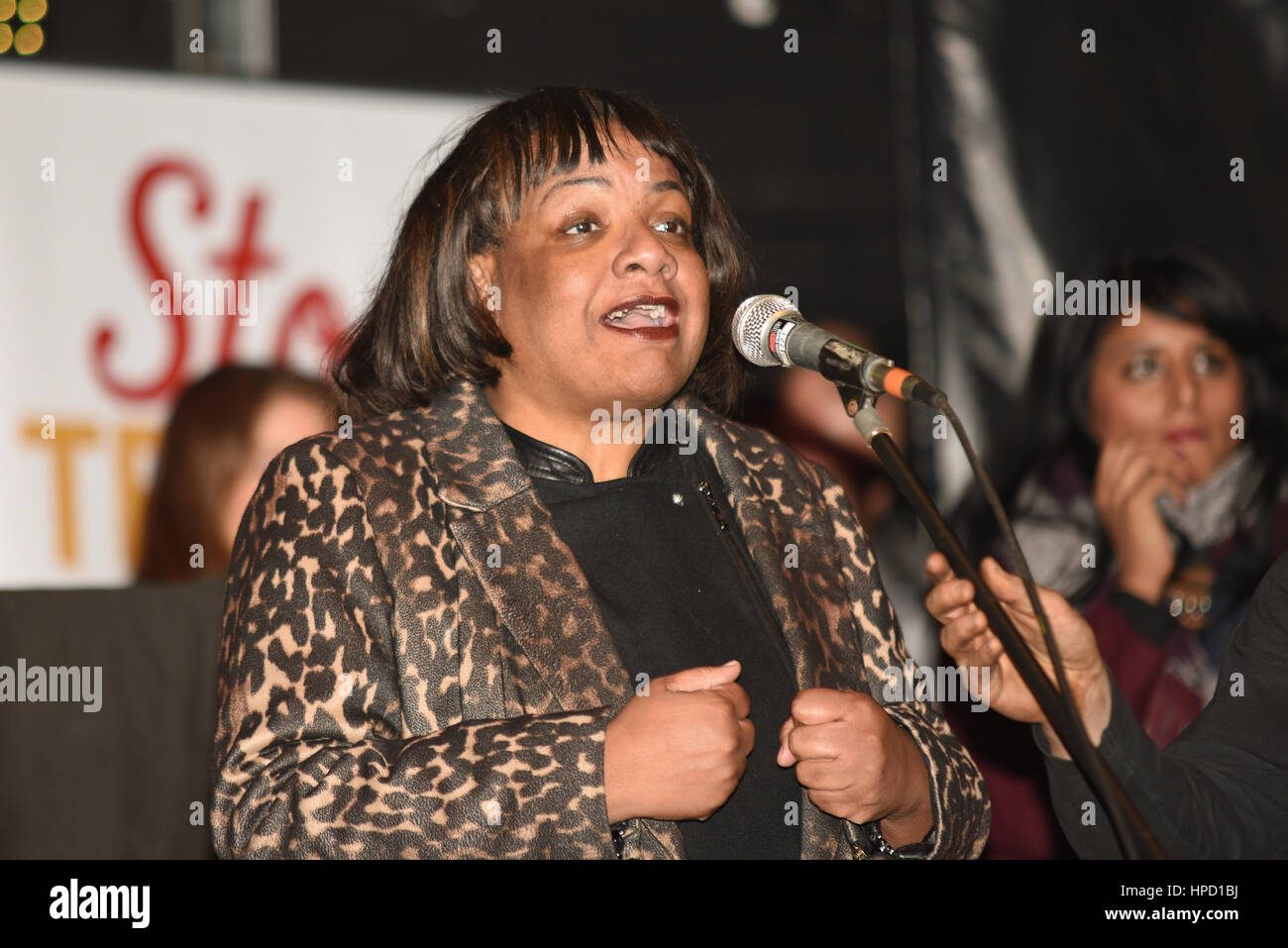 Diane Abbott speaking at a rally against Brexit, racism and Article 50 - Stock Image