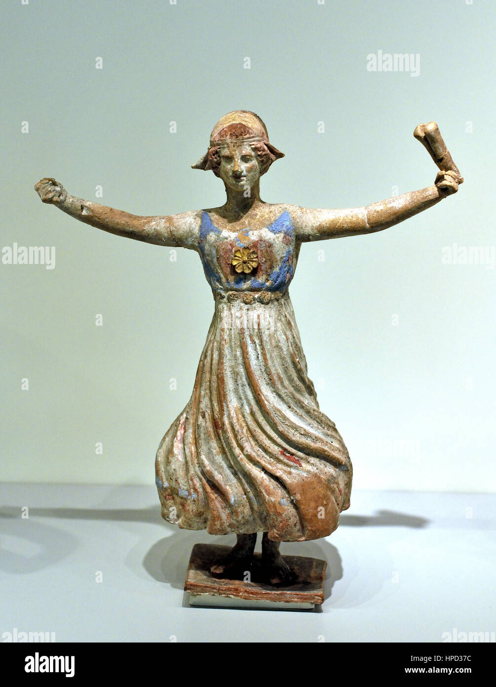 Music Female Dancer Athens Greece Clay 4th to 2nd Century BC , painting, ceramic, painted, pottery, earthenware, - Stock Image