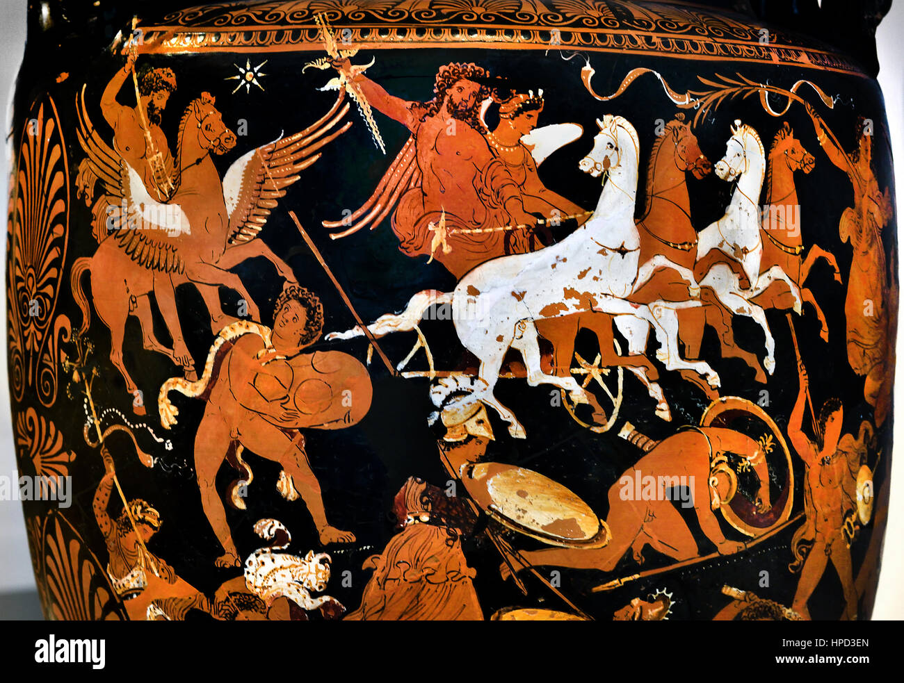 Volute Krater, Olympian gods struggling against the Giants , Clay, 340 BC - Stock Image