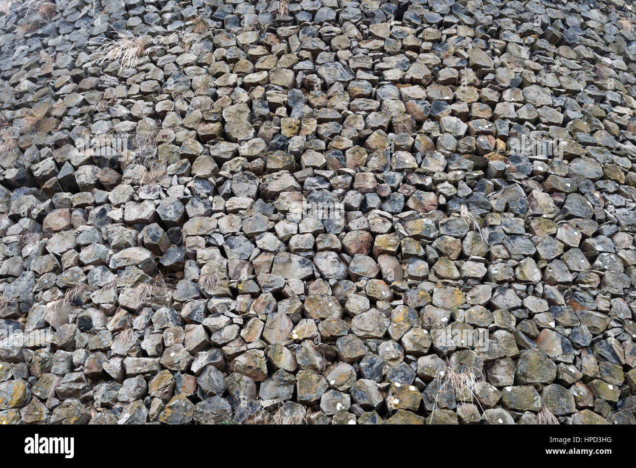 Castle wall of  Somoska made of Basalt rocks - Stock Image