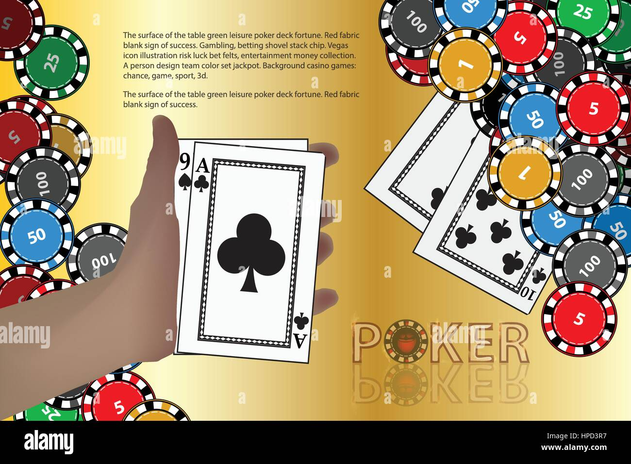 Casino Game Cards With Space For Text Winnings Chips