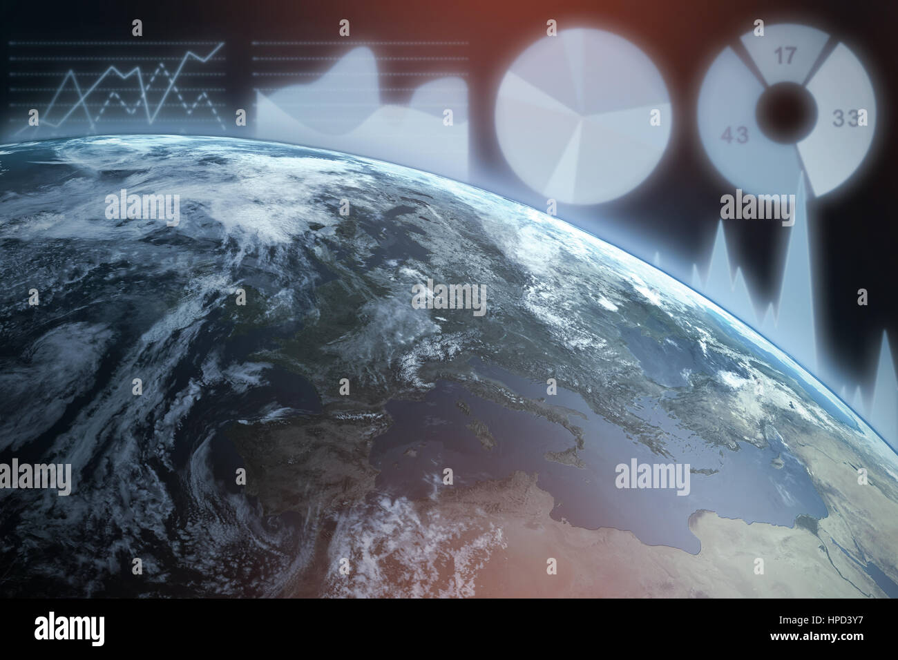 3d Satellite view of earth against blue background with vignette - Stock Image