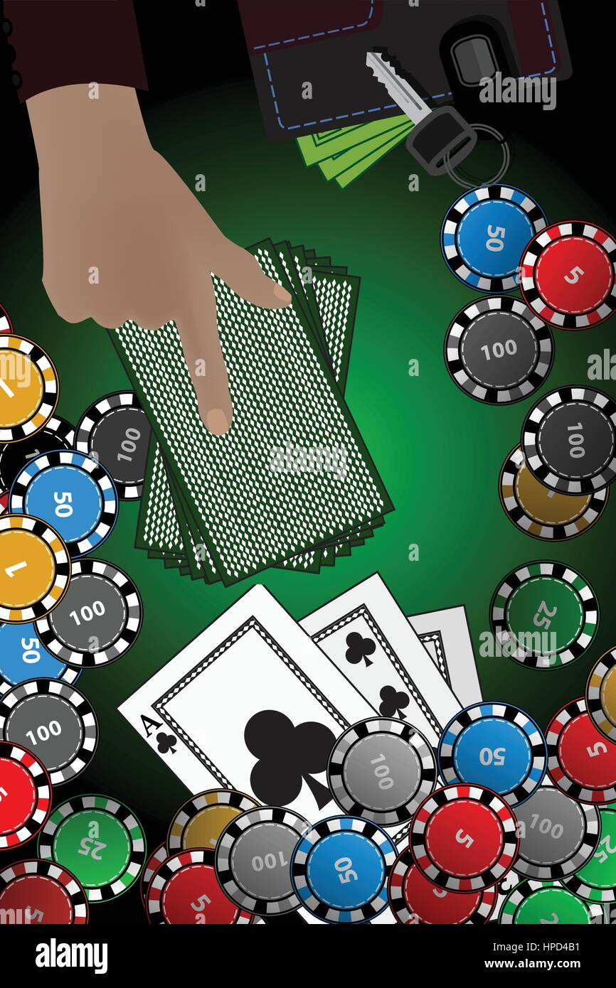 Casino Chips Hand Stack Of Cards Winnings Concept Illustration