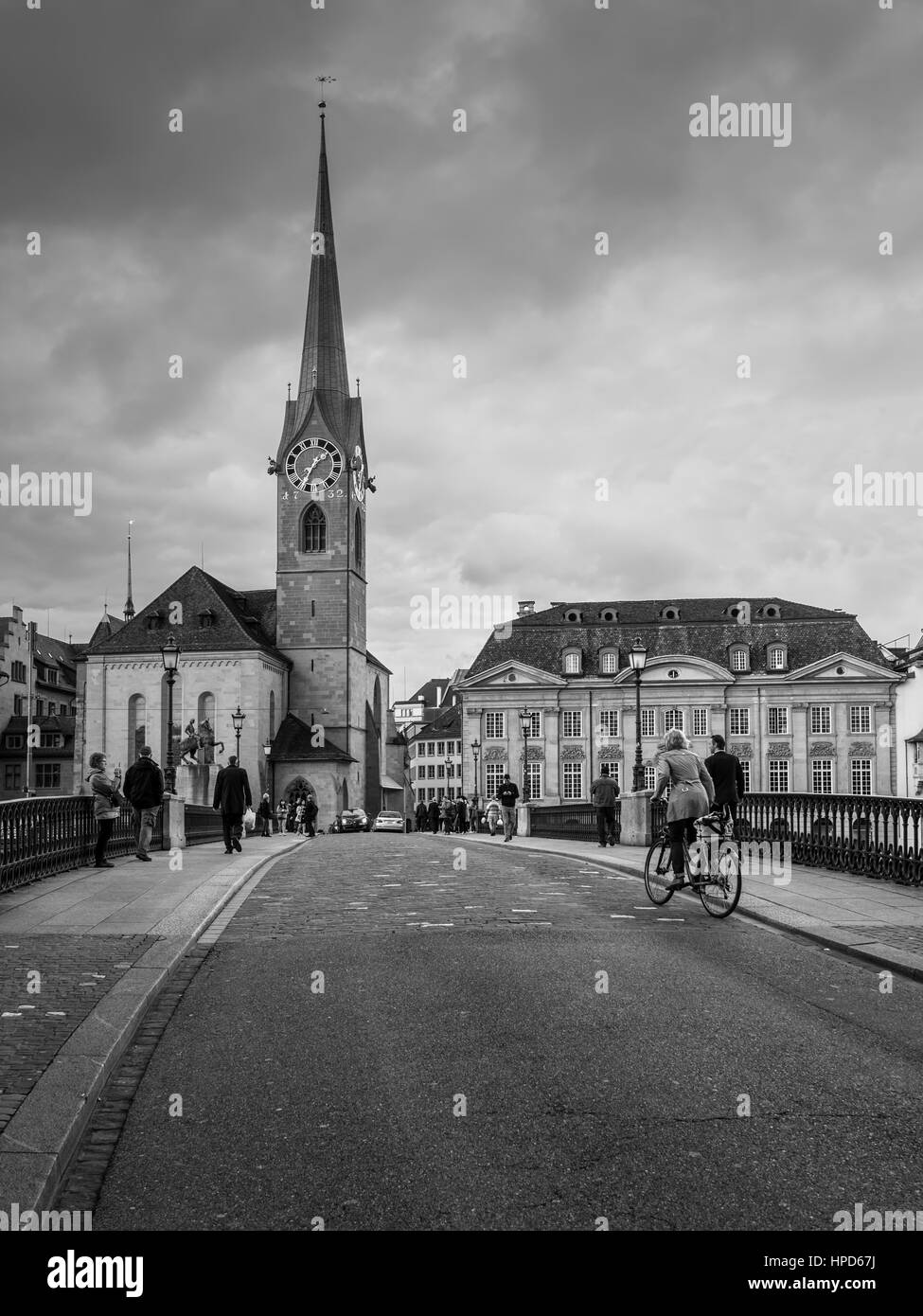 Zurich, Switzerland - May 24, 2016: Characteristic architecture (Fraumuenster church) in the old city center of - Stock Image
