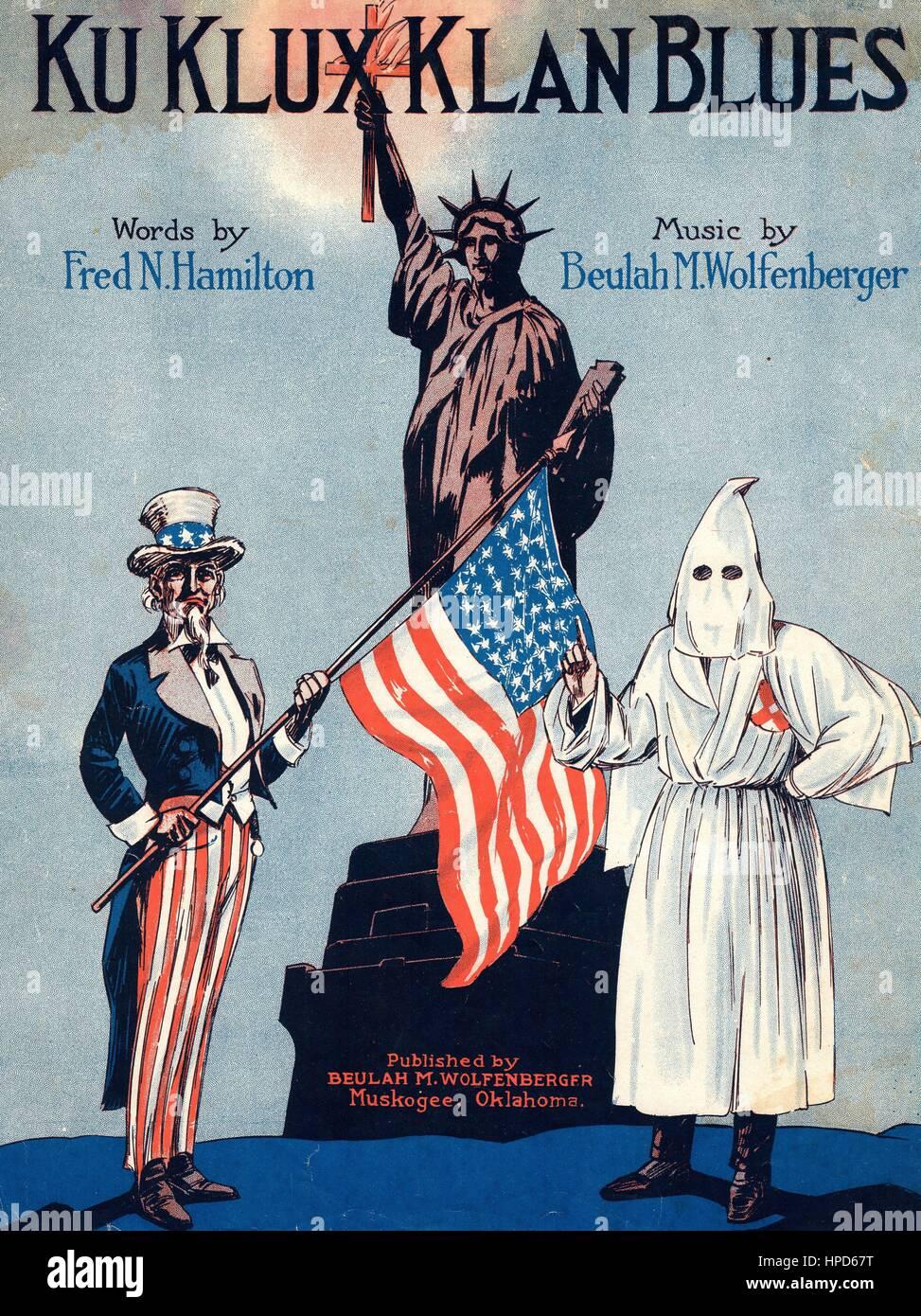 Ku Klux Klan Blues Sheet Music by Fred Hamilton & Beulah Wolfenberger. Published: Muskogee, Oklahoma. 1924. Stock Photo
