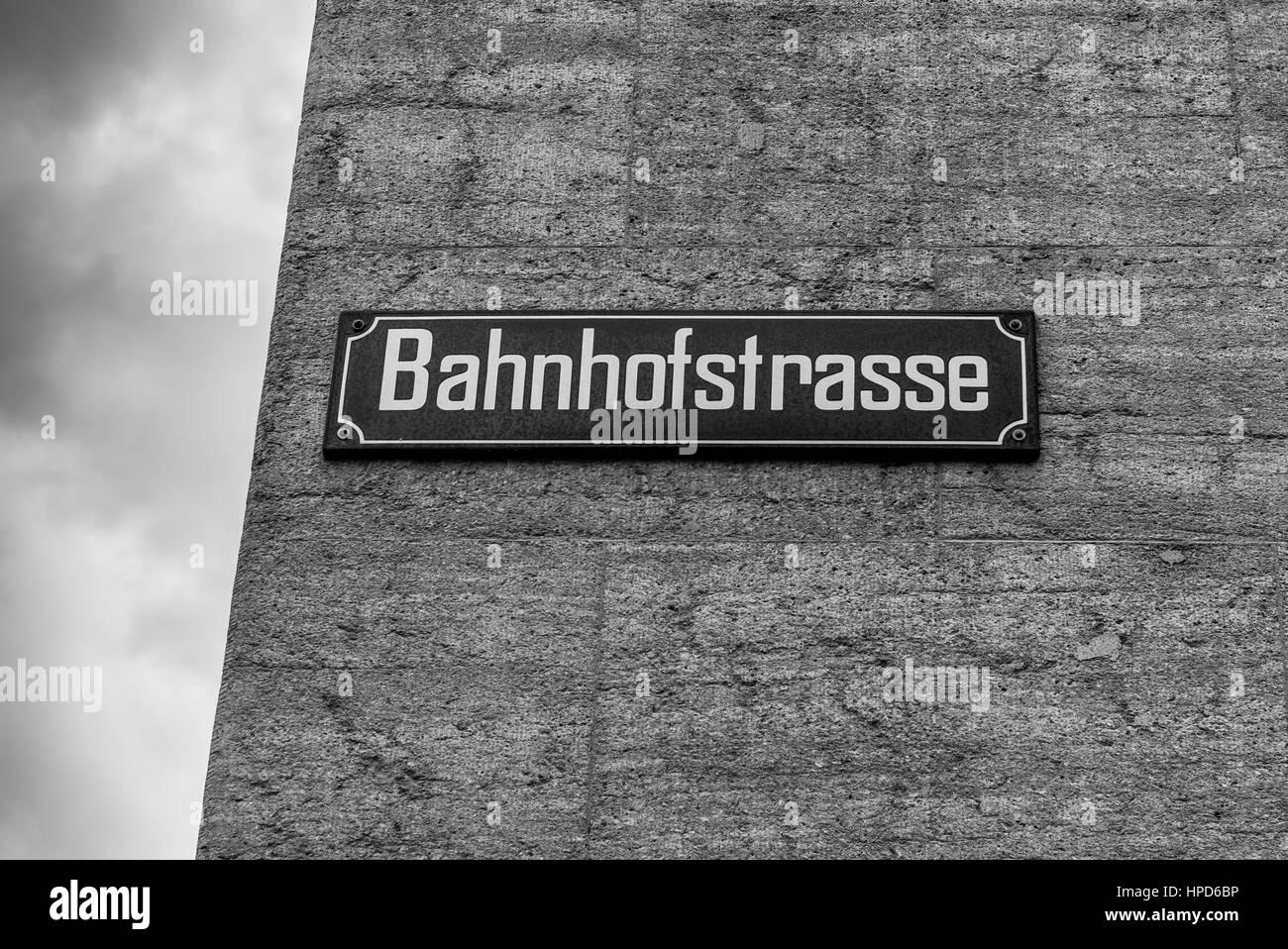 Bahnhofstrasse street plate in Zurich, Switzerland. Black and white photography. - Stock Image
