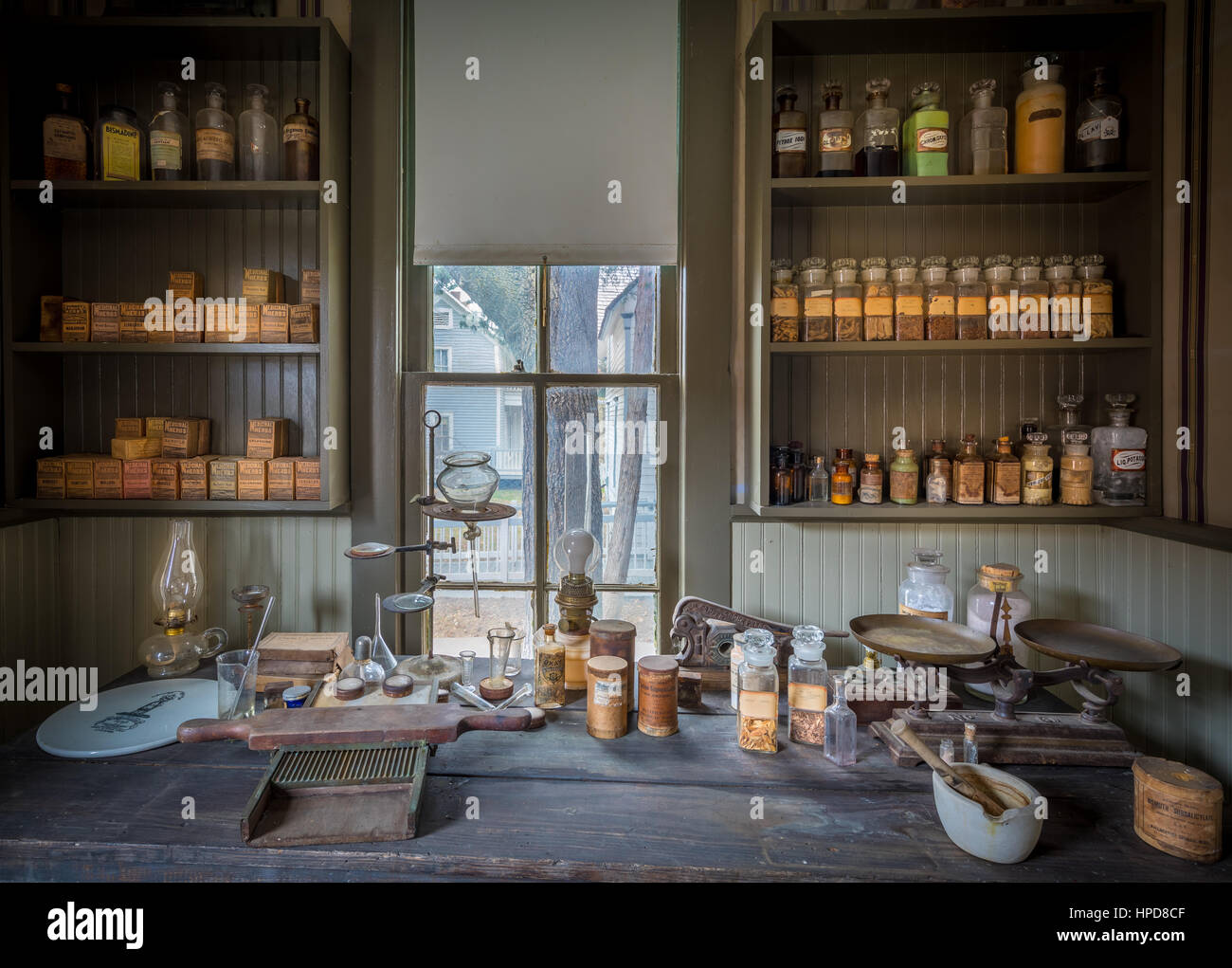 Vintage pharmacy in Dallas, Texas.  This is where the pharmacist prepared the medicines. Stock Photo