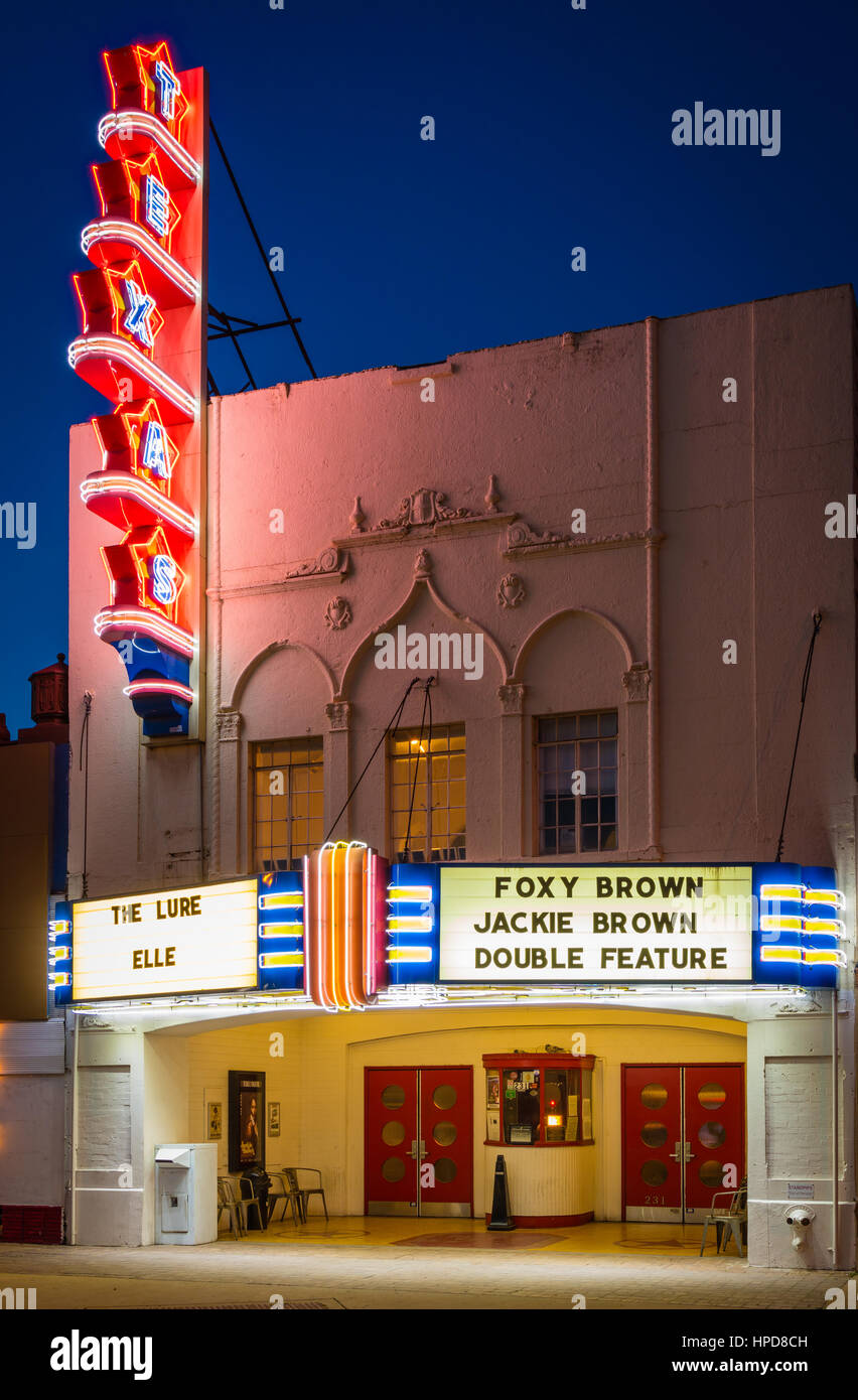 The Texas Theatre is a movie theater and Dallas Landmark located in the Oak Cliff neighborhood of Dallas, Texas. - Stock Image