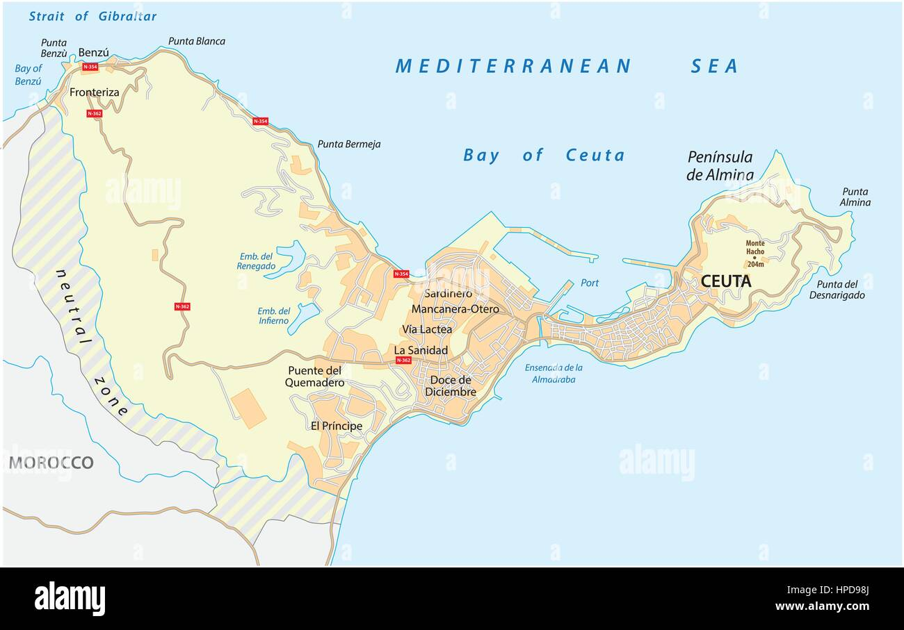 Road map of the Spanish enclave ceuta on the African continent.eps Ceuta Map on
