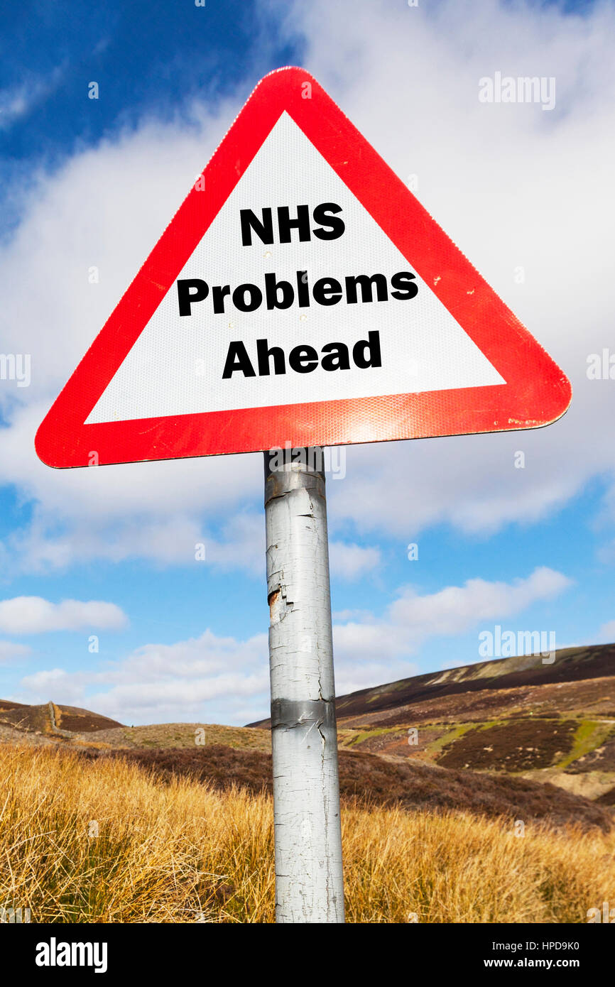 NHS problems ahead sign UK national health service problems worrying times ahead future of NHS UK England - Stock Image