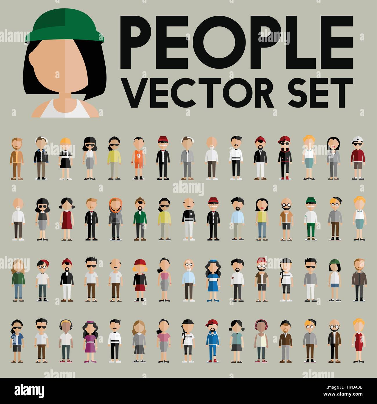 Vector people set collection characters Stock Vector