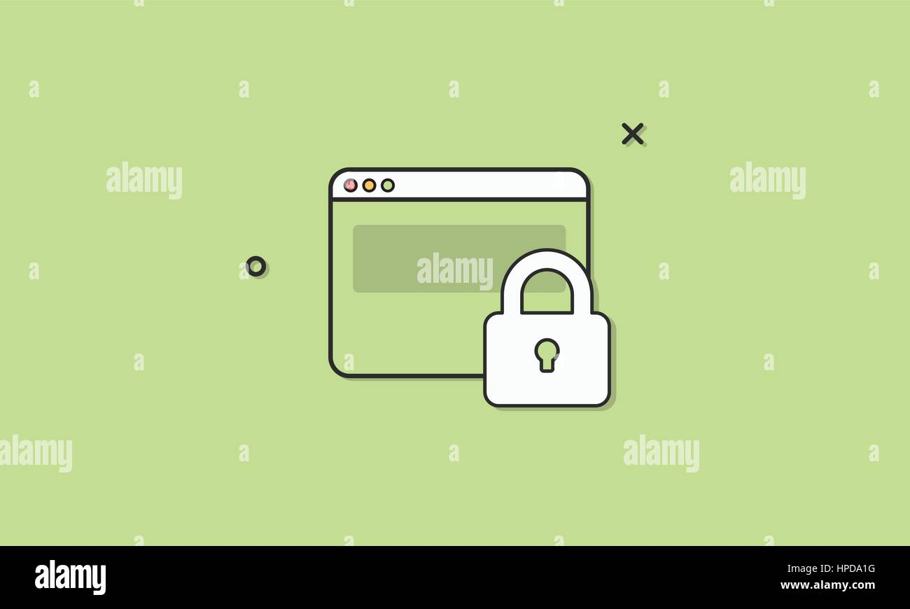 Web security homepage vector illustration - Stock Image