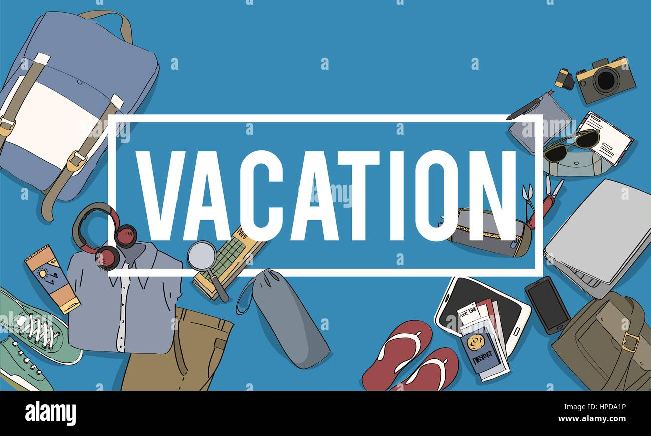 Outing Travel Vacation Word Gadgets Graphic - Stock Image
