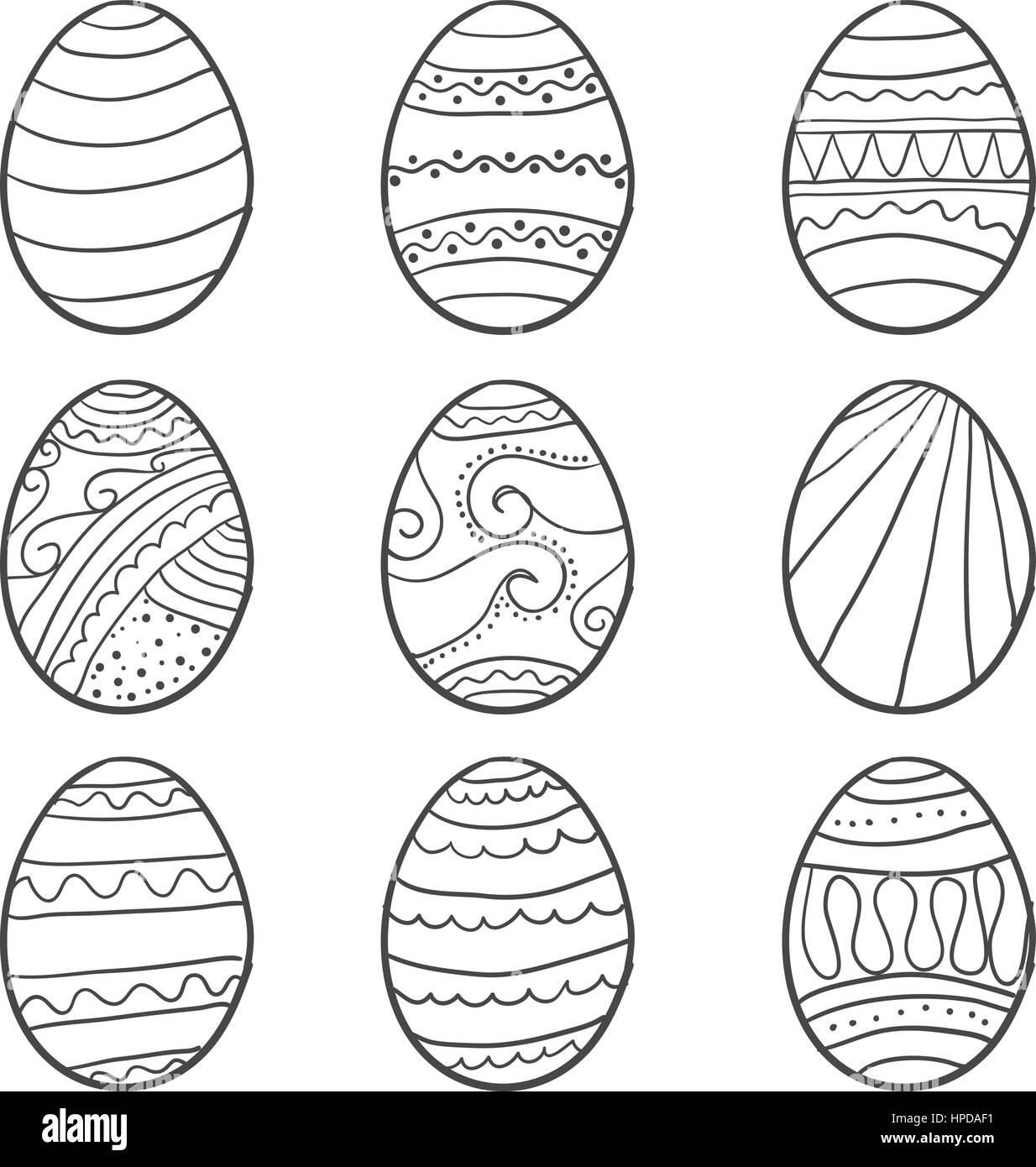 Hand draw easter egg doodle set vector art Stock Vector Image