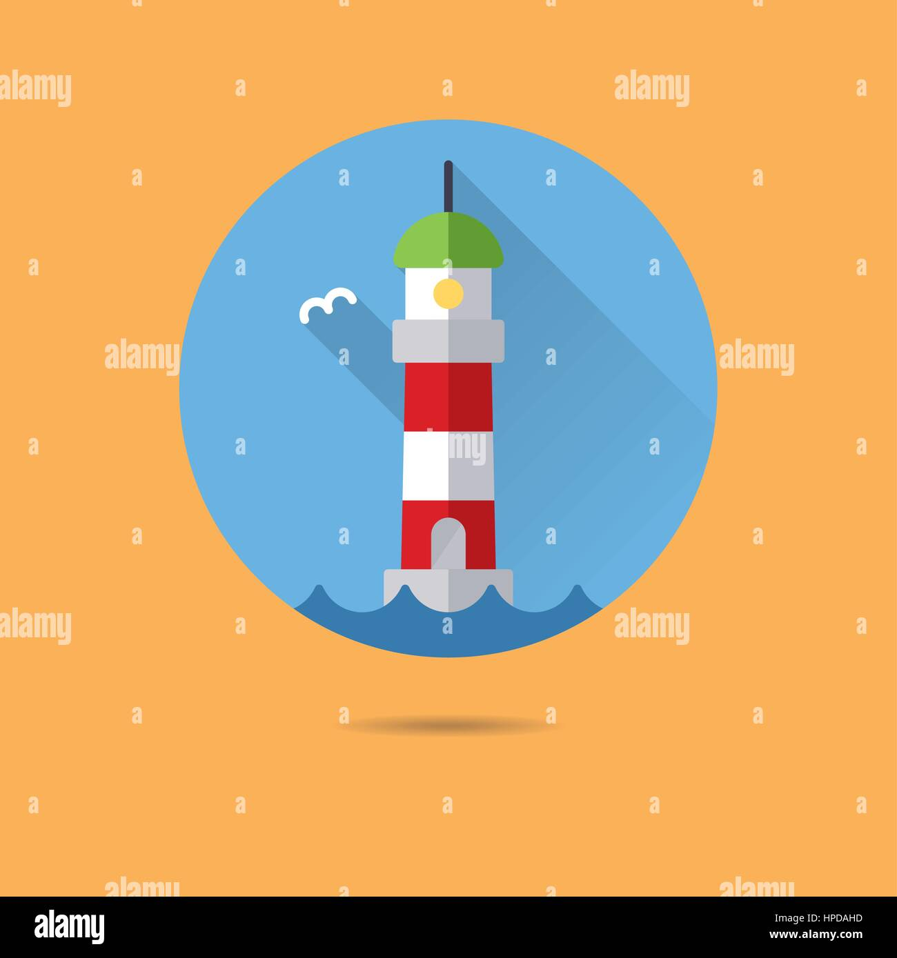 lighthouse flat design long shadow vector icon - Stock Image