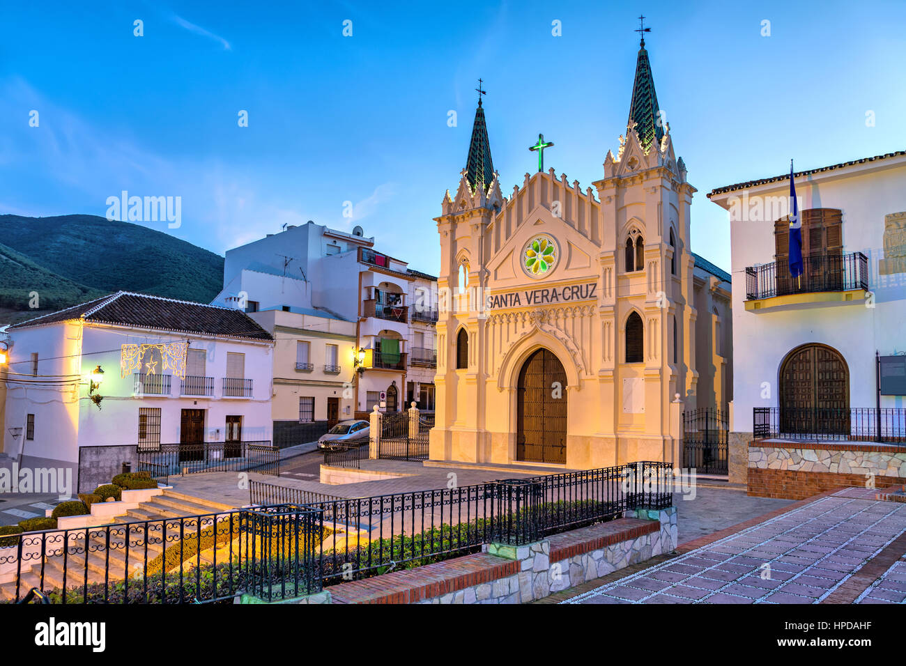 Church of Santa Vera Cruz in the evening in Alhaurin el Grande, Malaga province, Andalusia, Spain - Stock Image