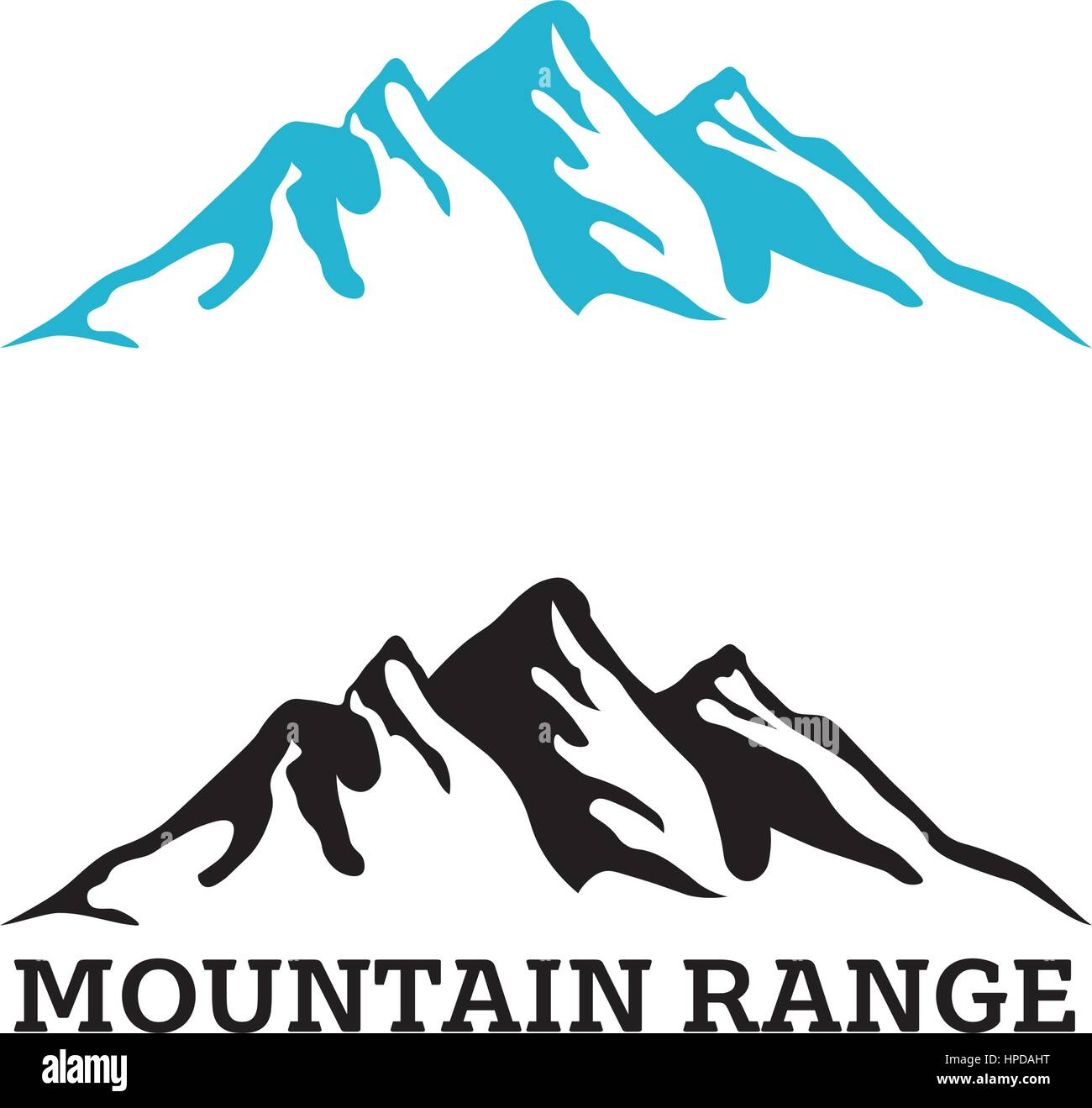 company logo template with mountain range silhouette stock vector