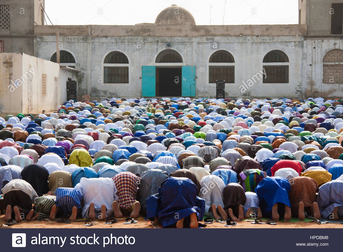 Muslim morning prayer of Corité,the end of Ramadan feast in Senegal