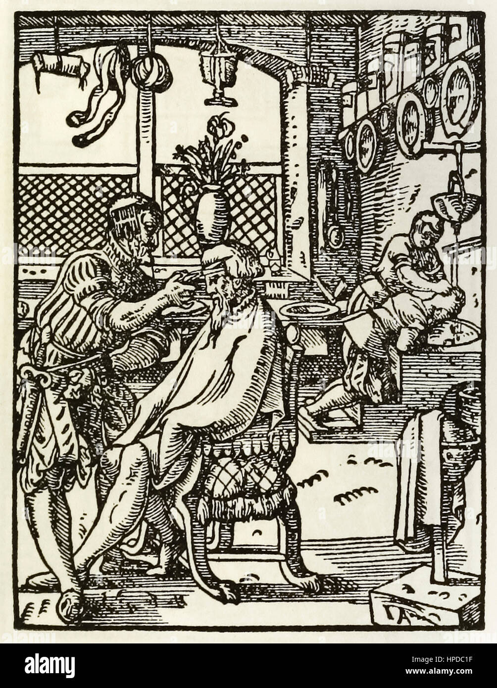 'The Barbers' woodcut by Jost Amman (1539-1591) from a series depicting occupations and trades first published in - Stock Image