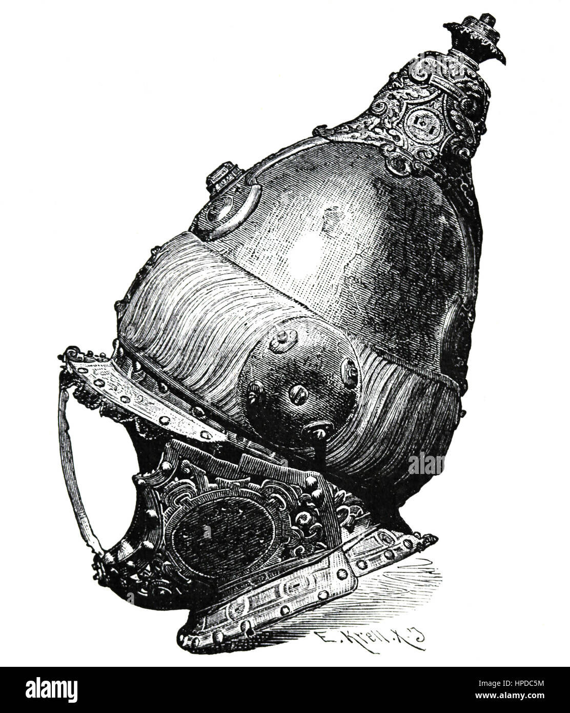 Armet, Turkish helmet from the Battle of Lepanto, 1571. Engraving. - Stock Image