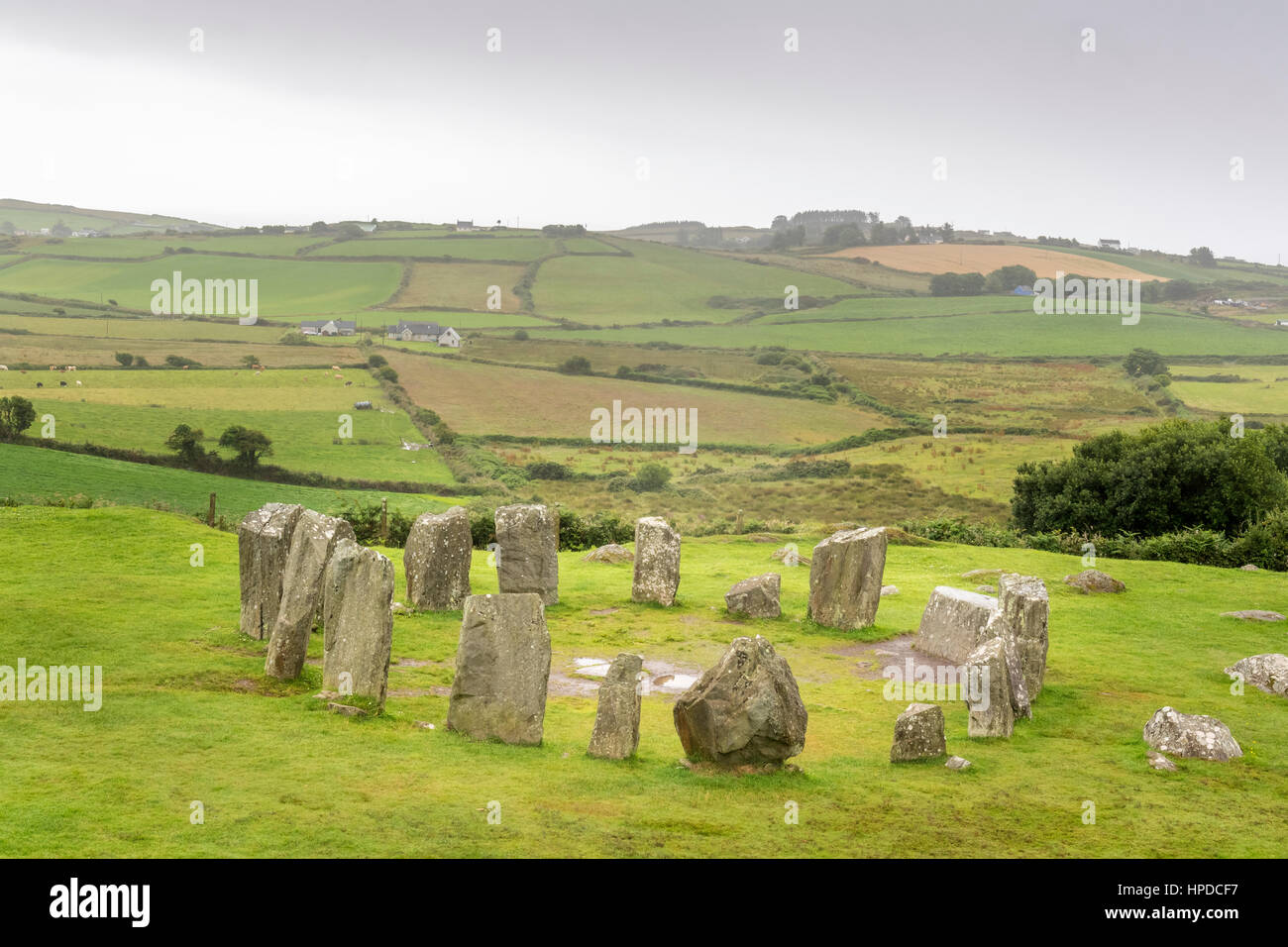 View on the Drombeg Stone Circle near Clonakilty in the south of Ireland - Stock Image