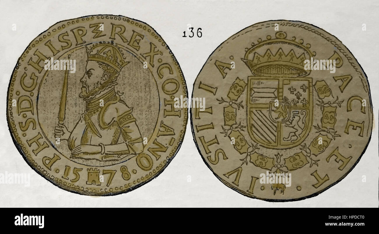 Coin of Hainaut. Netherlands. Reign of Philip II of Spain (1527-1598). Engraving. - Stock Image