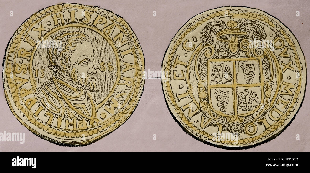 Silver ducat of Milan, 1556. Reign of Philip II of Spain. Engravin. Color. - Stock Image