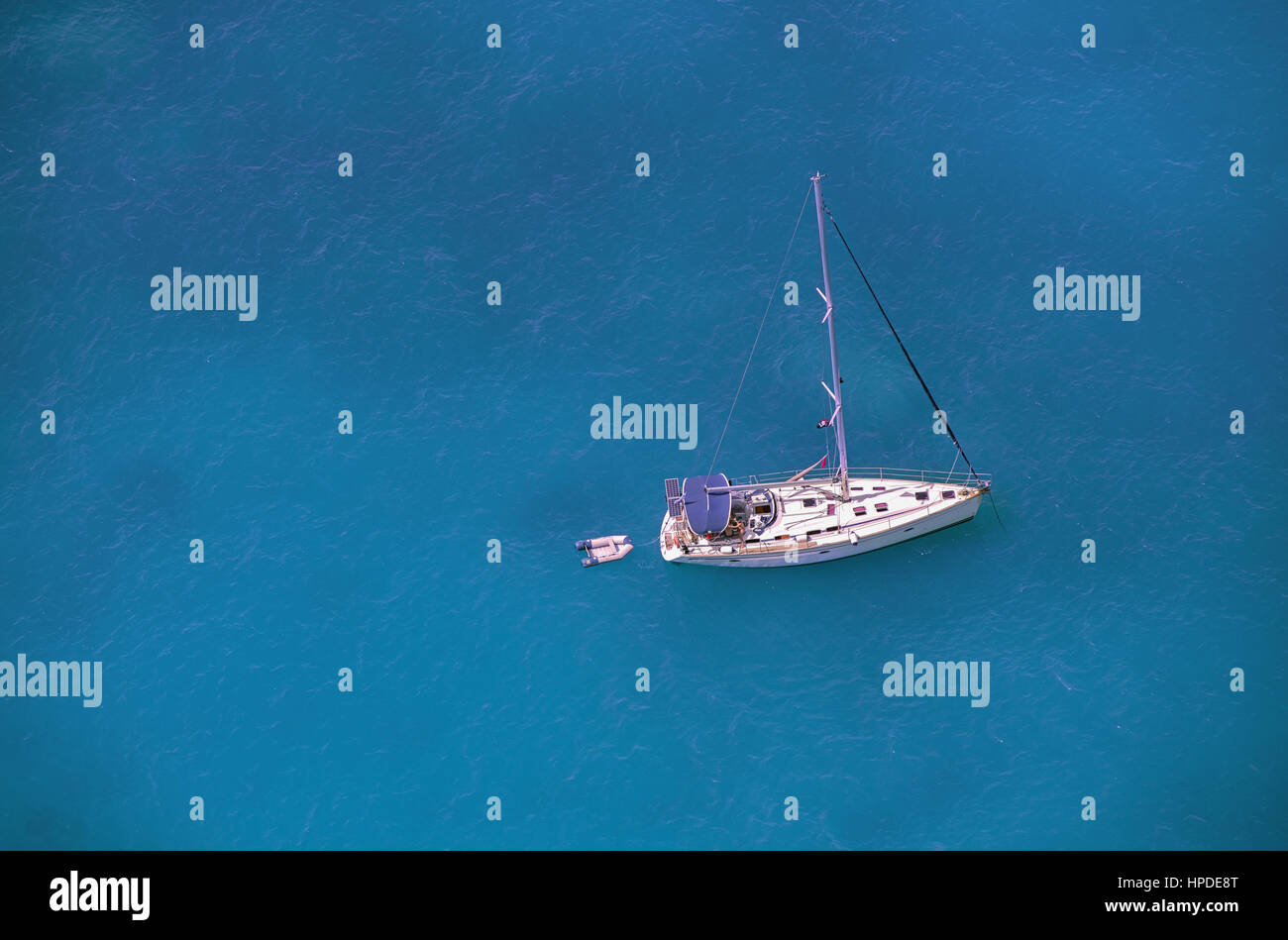 Sailing at the western coastline of Lefkada island, in the Ionian Sea, Greece Stock Photo