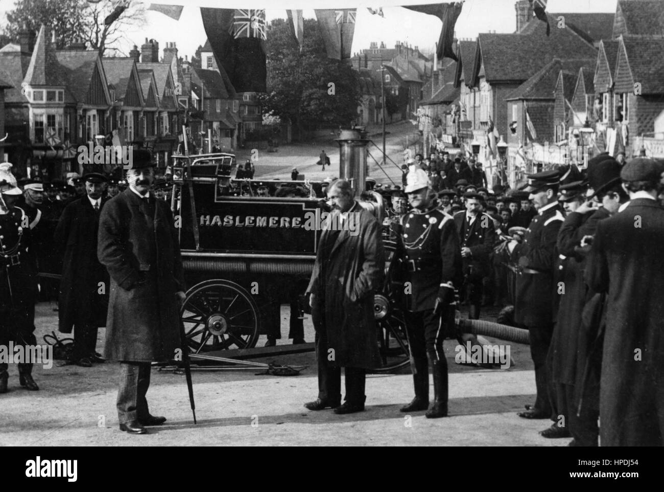 Steam fire pump in Haslemere 1890's - Stock Image