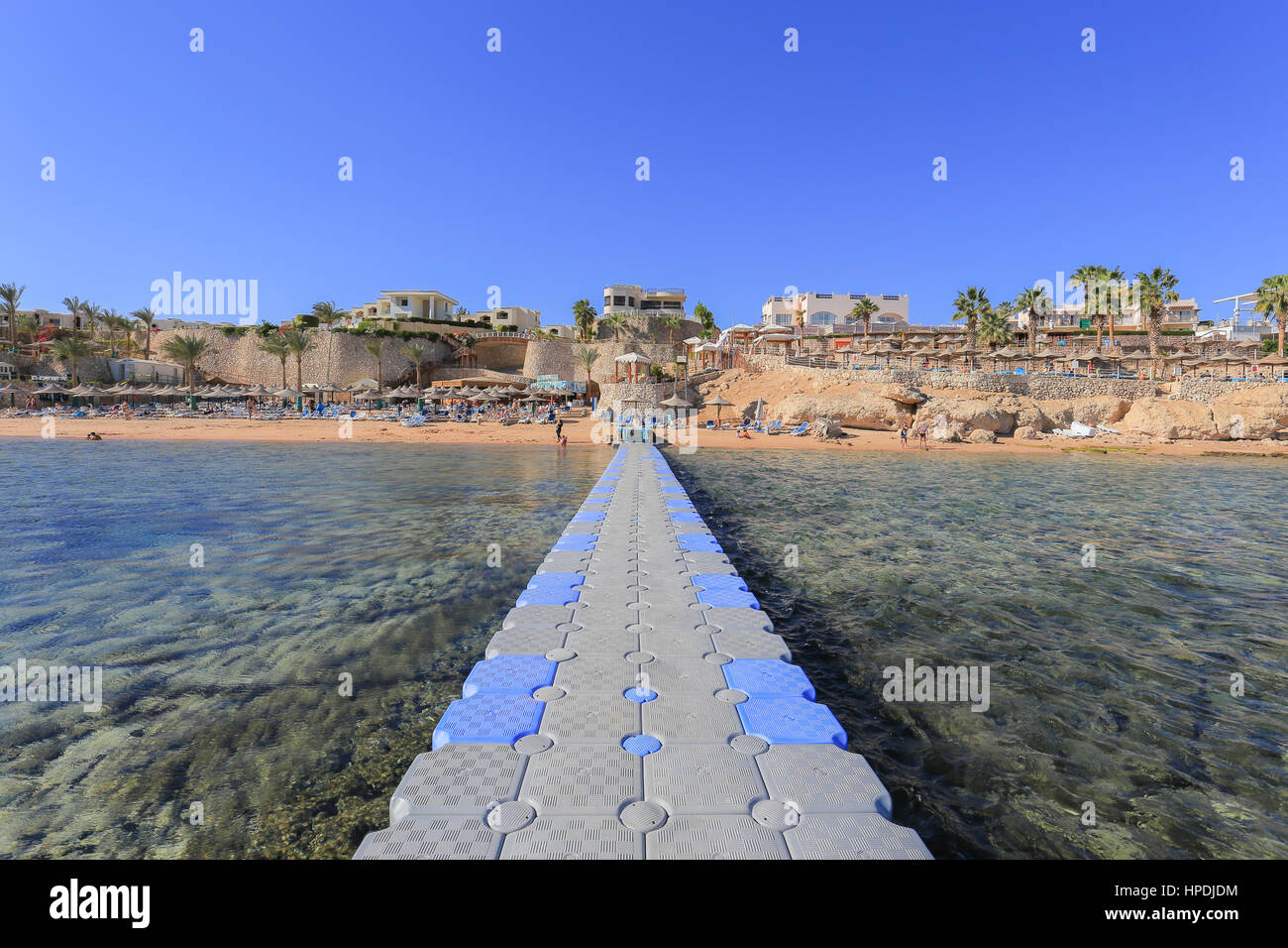 Red sea, coral and plastic pontoon in Sharm El Sheikh resort Stock Photo