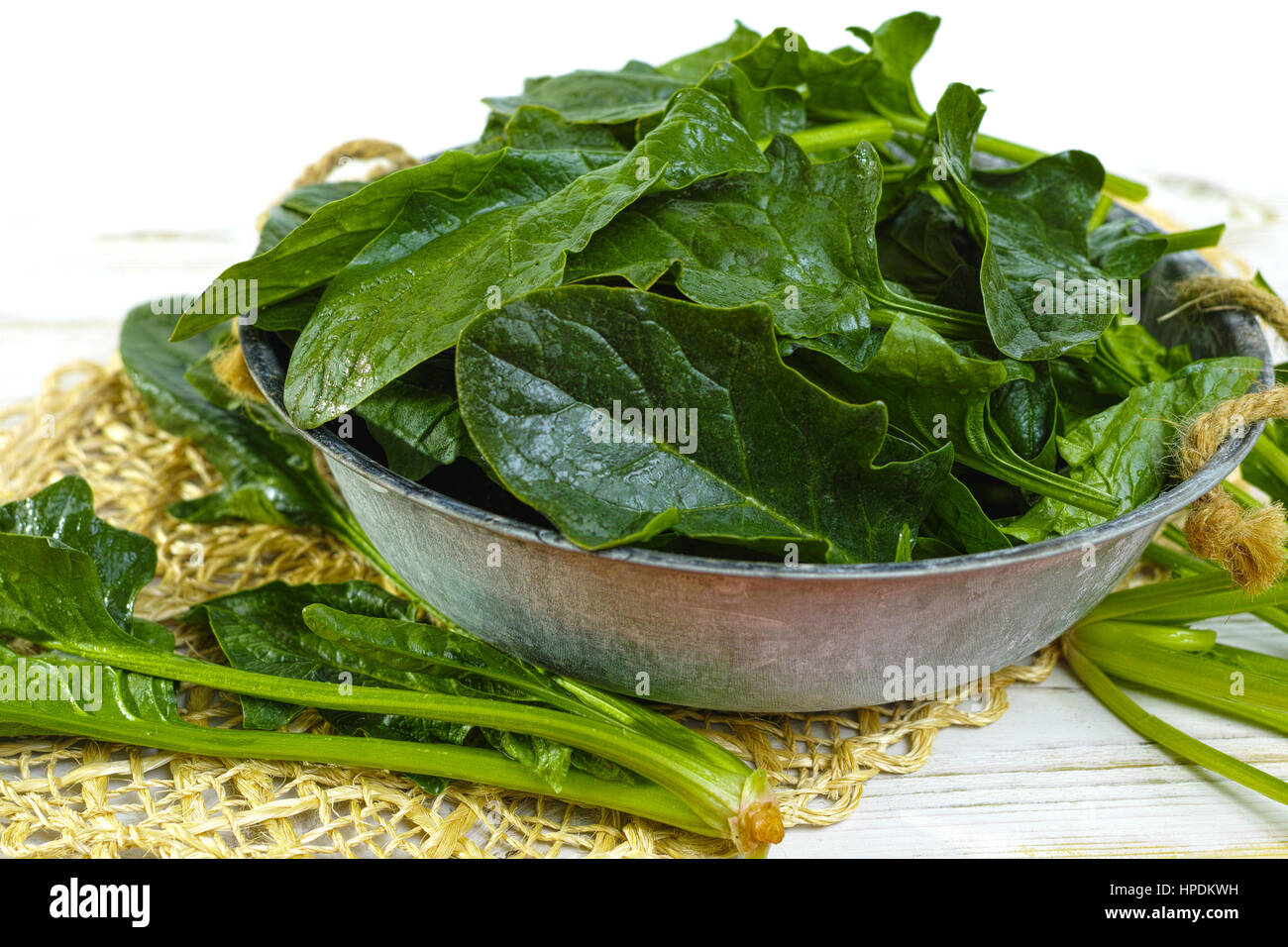 Fresh green Spinach leaves - diet and health concept, weight