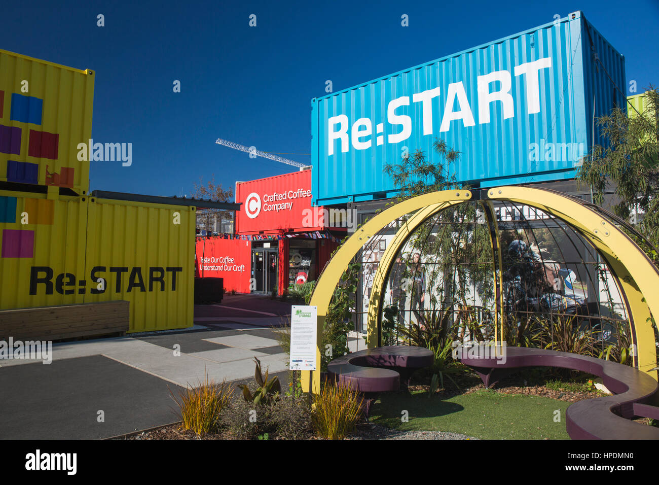 Christchurch, Canterbury, New Zealand. Colourful shipping containers in the Re:START Mall, Cashel Street. - Stock Image