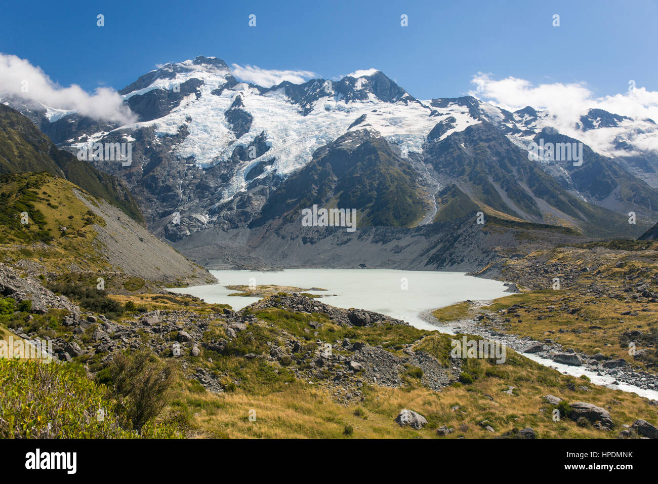 Aoraki/Mount Cook National Park, Canterbury, New Zealand. View across Mueller Lake to the snow-covered slopes of - Stock Image