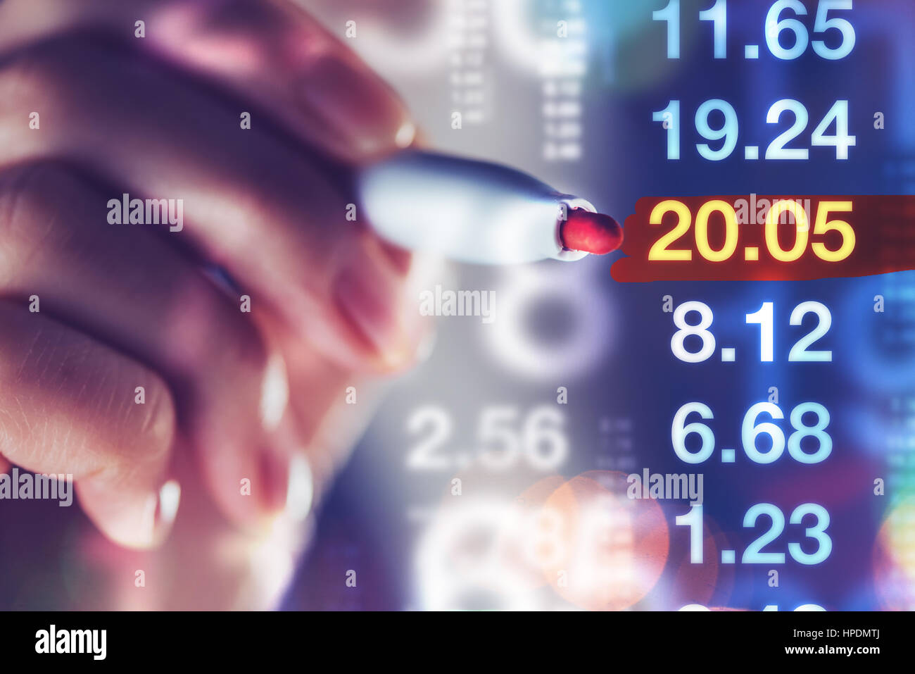 Businesswoman tracking stock market indicators, business trade and economy concept - Stock Image