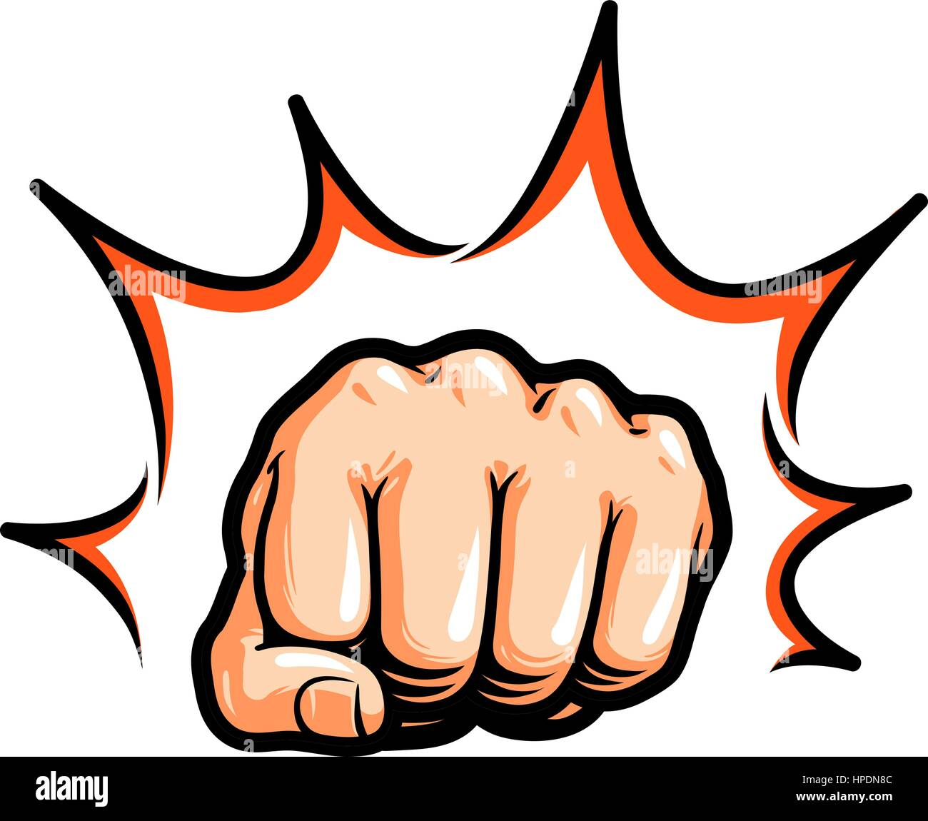 hand fist punching or hitting comic pop art symbol vector stock