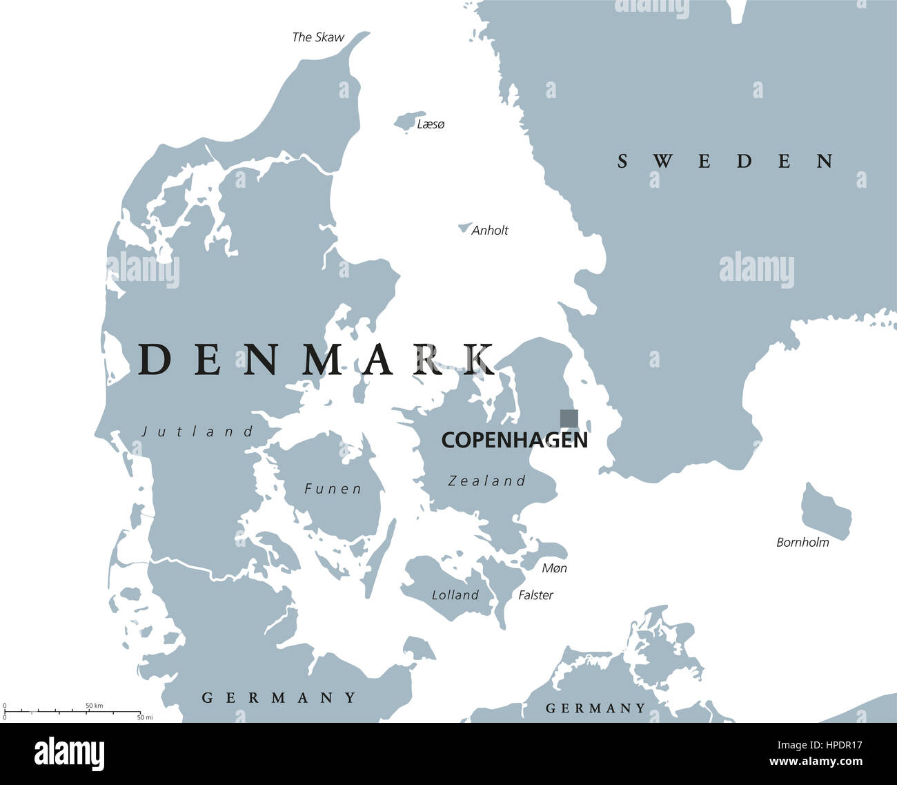 Denmark political map with capital Copenhagen and neighbor countries ...
