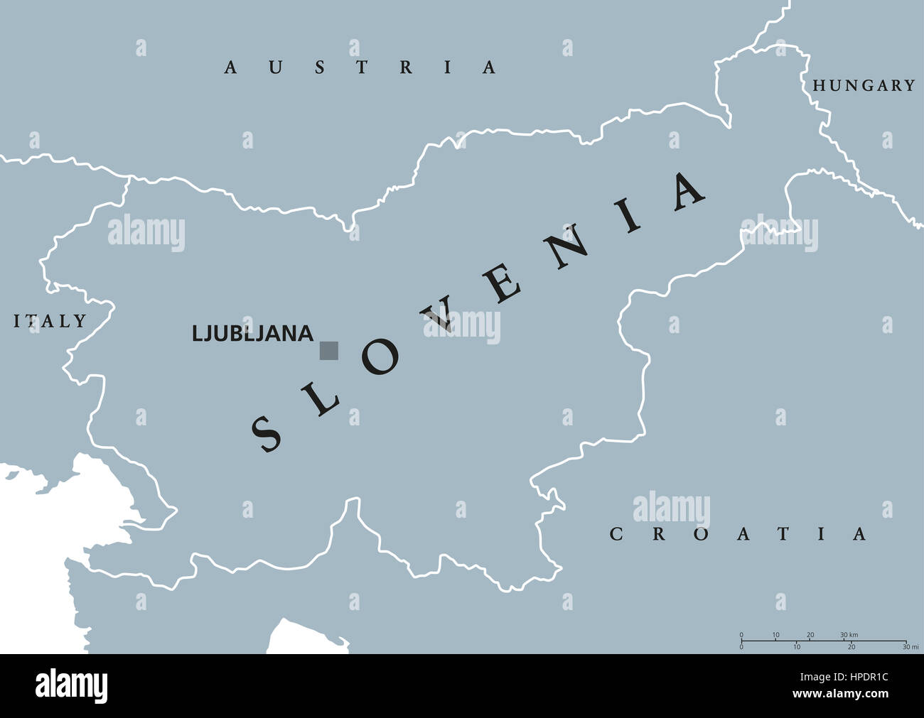 Slovenia political map with capital Ljubljana and neighbor countries