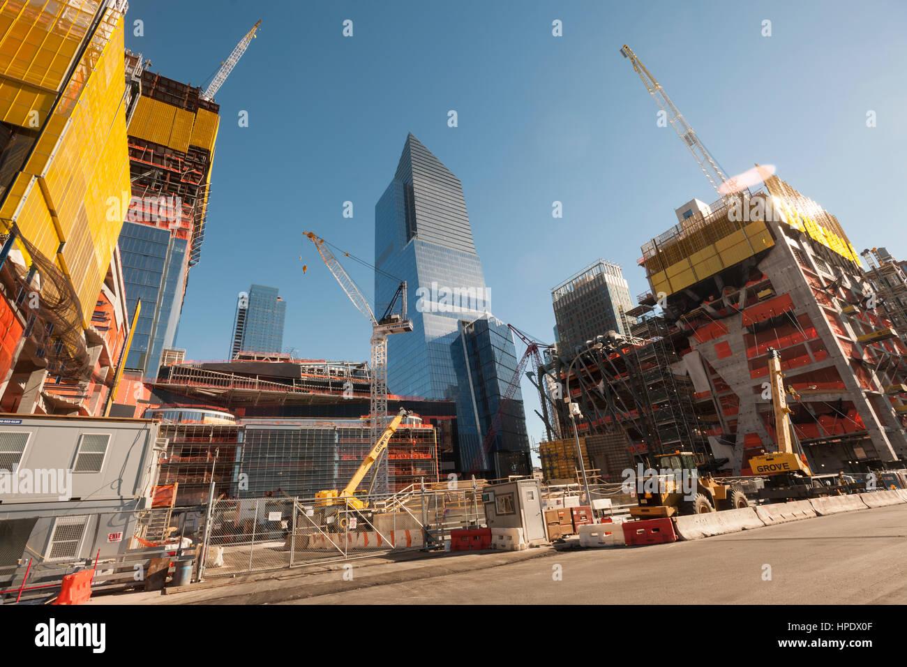Construction of the Hudson Yards development, including 10 Hudson Yards, center,  in New York on Sunday, February Stock Photo