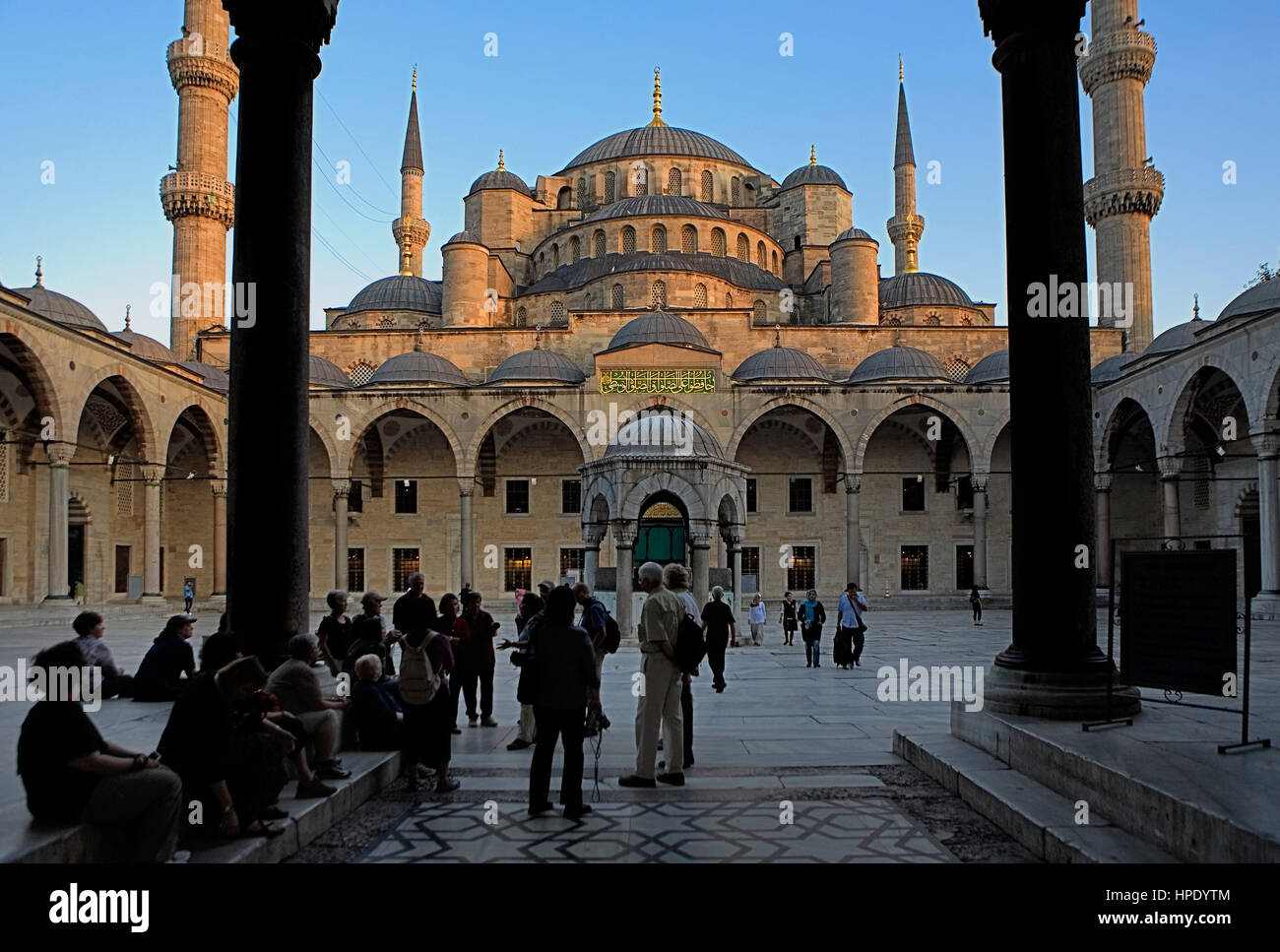 Courtyard of Mosque Sultan Ahmet, Blue Mosque. Istanbul. Turkey - Stock Image